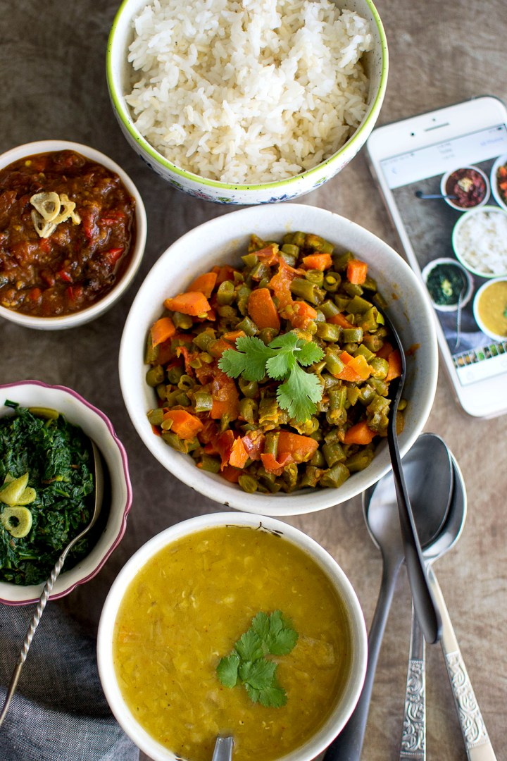 Rice, Mixed vegetable curry, dal, spinach, tomato chutney