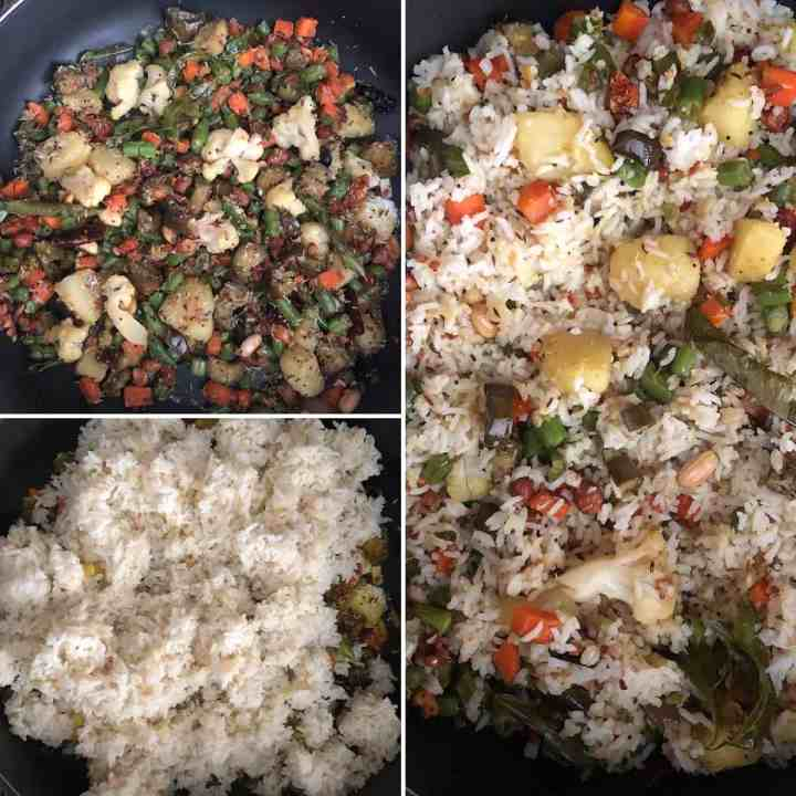 Step by step photos showing the addition of grated coconut and cooked rice to cooked veggies