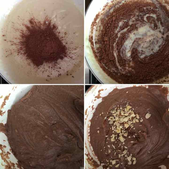 Step by step photos with the addition of cocoa powder and almonds to the milk mixture