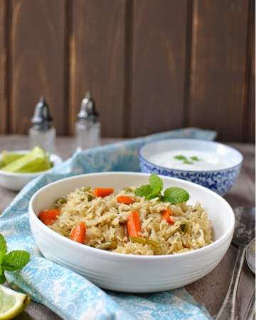 Mint flavored Vegetable Pilaf