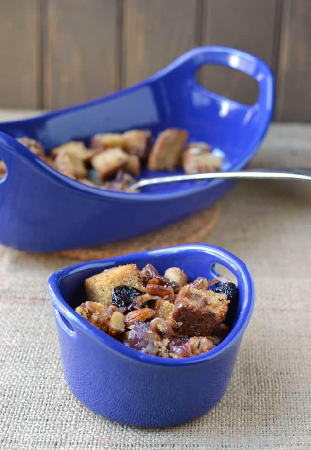 Blue ramekin with Thanksgiving stuffing