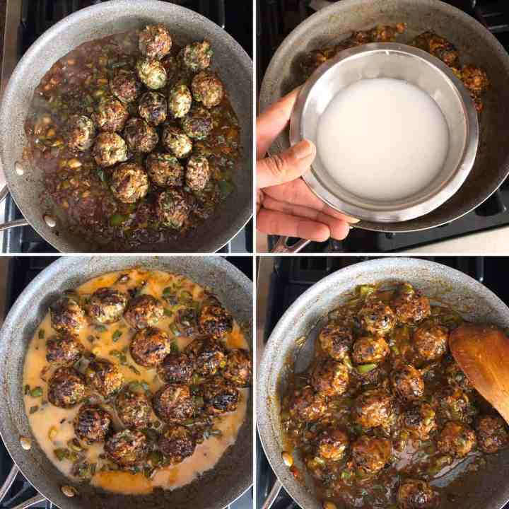 Step by Step photos showing the making of veg manchurian
