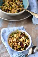 Warm Farro Pilaf with Dried Cranberries & Kale