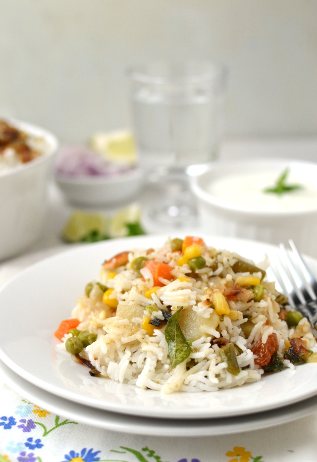 White Plate with Kerala Vegetable Biryani
