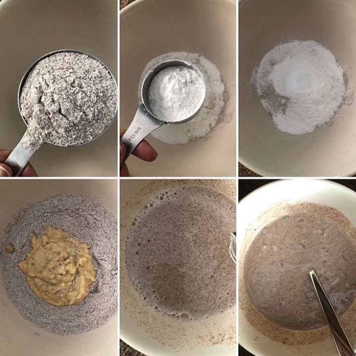 Ragi flour, rice flour added to a mixing bowl along with ground lentils, water and chopped onions