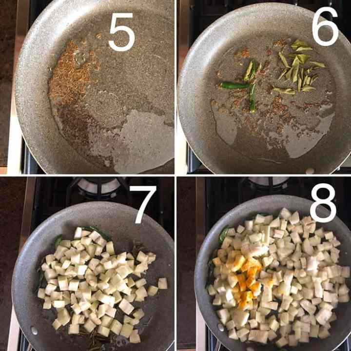 Step by Step photos to make vegetarian Sorakaya kobbari karam