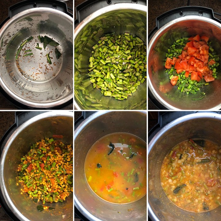 Step by step photos showing the making of asparagus dal