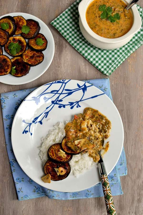 Eggplant with Yogurt sauce (Dahi Baingan)