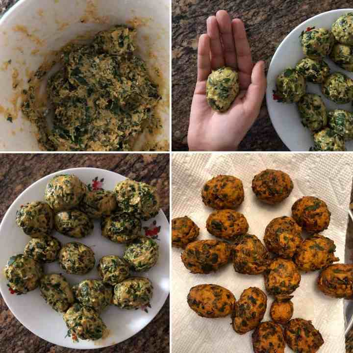 Step by step showing the making of fried dumplings