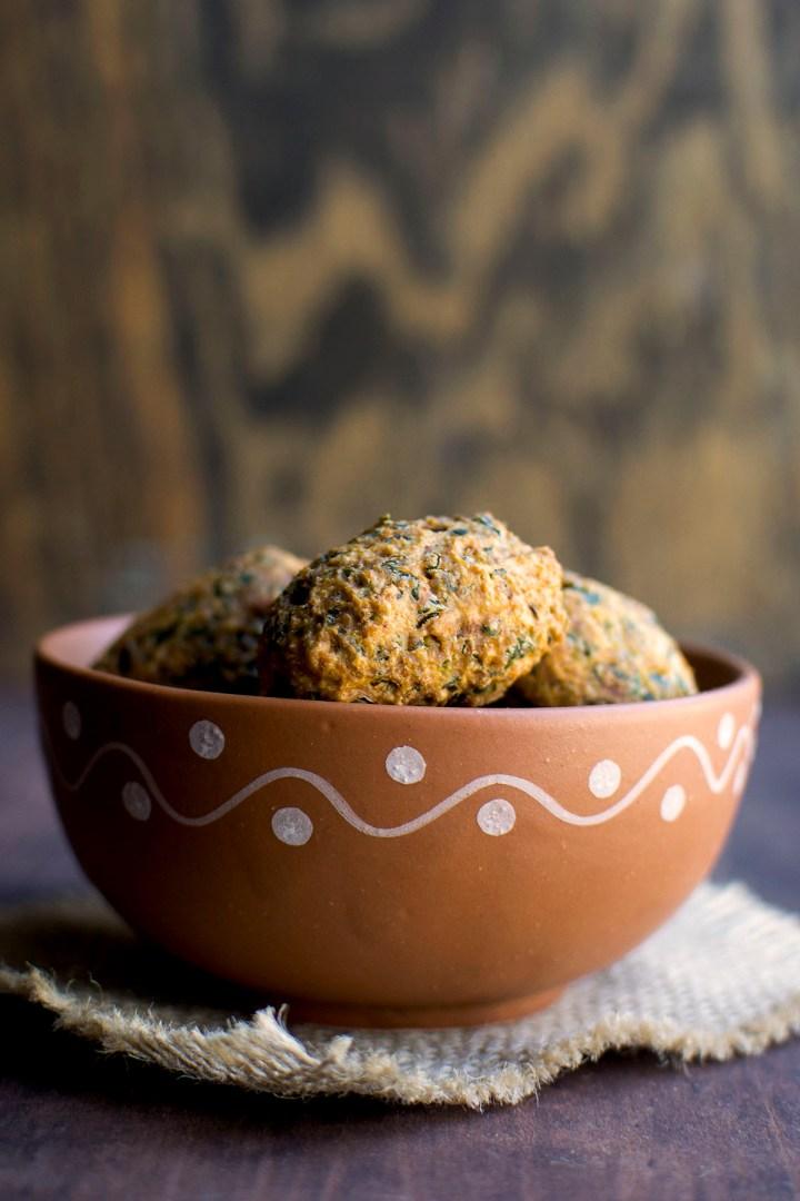 Bowl with Methi Muthiya