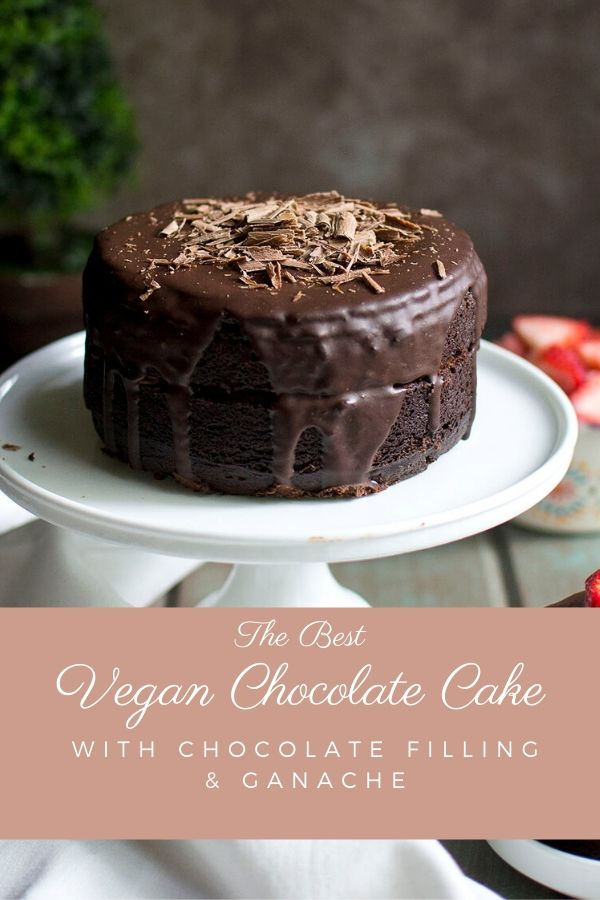 Vegan chocolate cake with chocolate filling and ganache