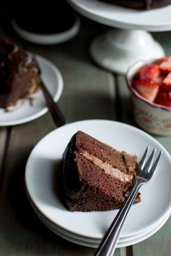 White plate with a slice of chocolate cake