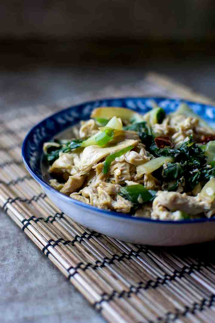 Blue bowl with yuba, bok choy stir fry