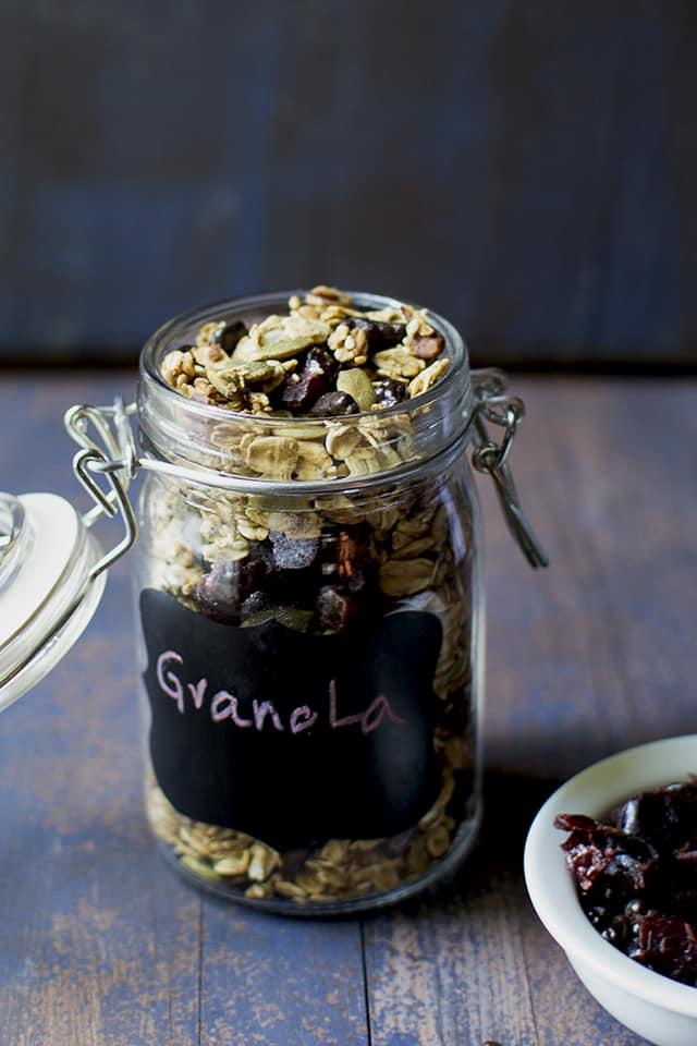 Jar of homemade cranberry cacao nib granola