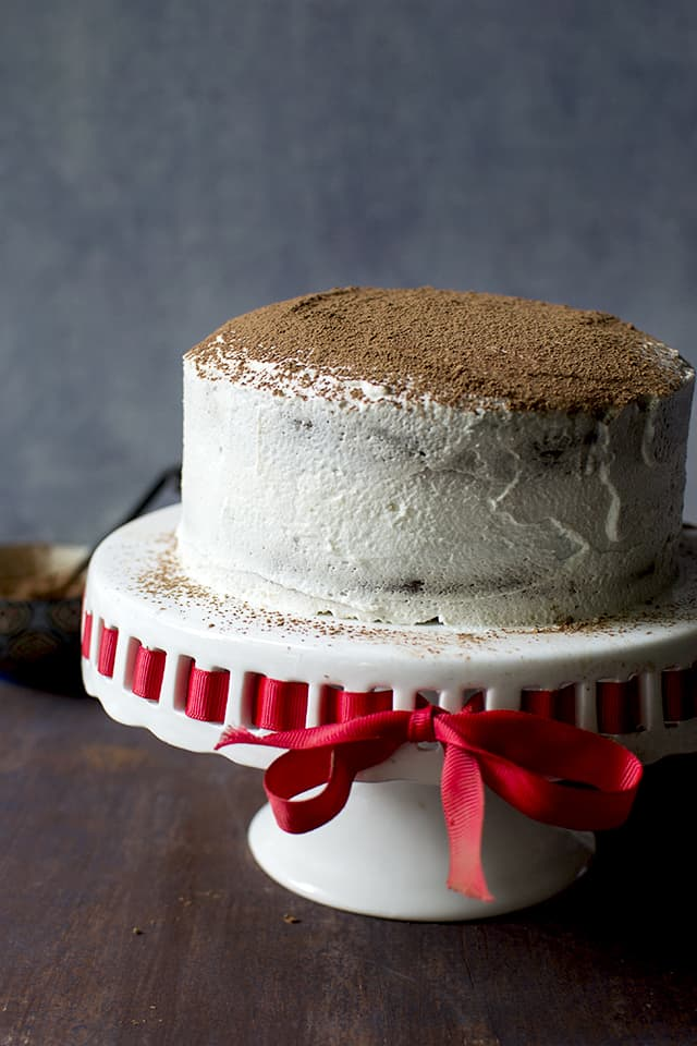 Vegan Mocha Cake recipe with mascarpone frosting