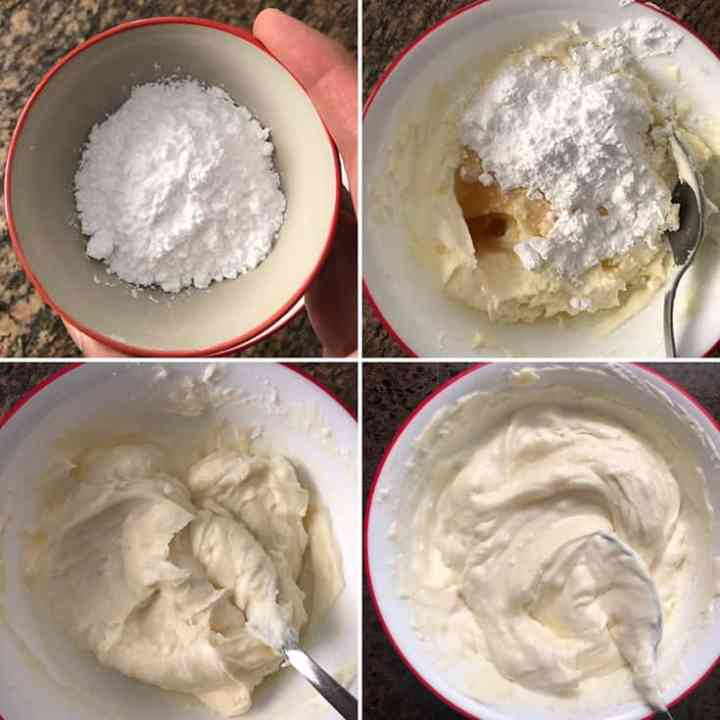 Photos showing the making of mascarpone filling