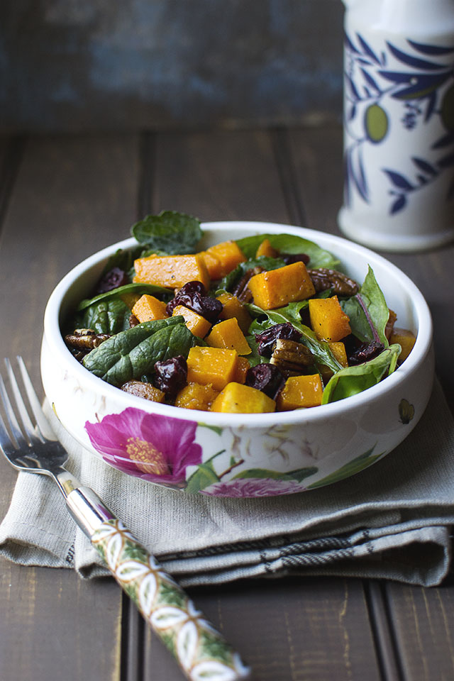 Warm roasted Butternut squash salad with Candied pecans