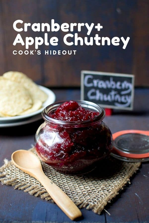 Jar of Cranberry chutney with apple and spices