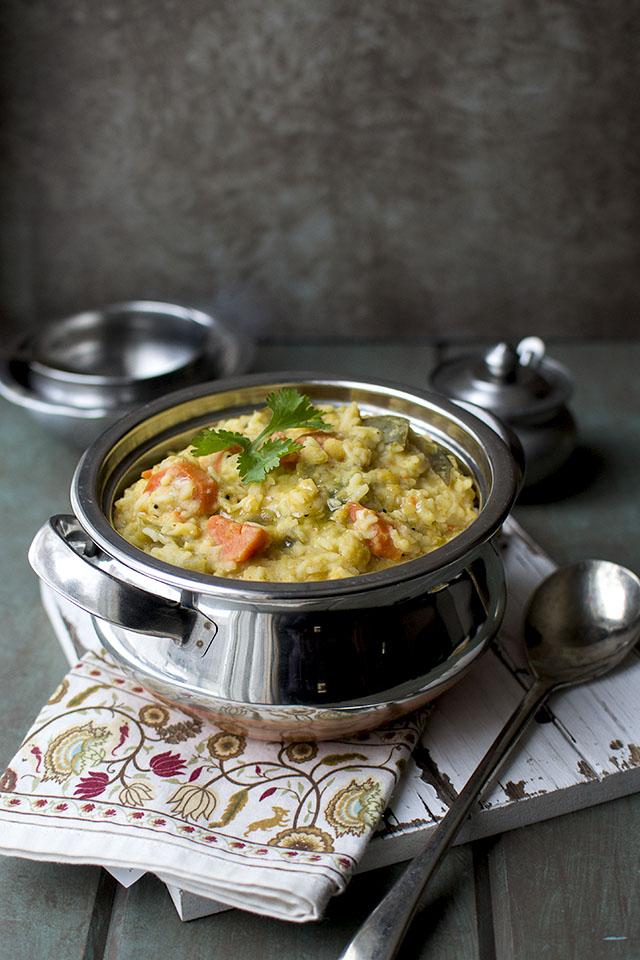 South Indian Mixed Vegetable Lentil Rice | Kadamba Saadam