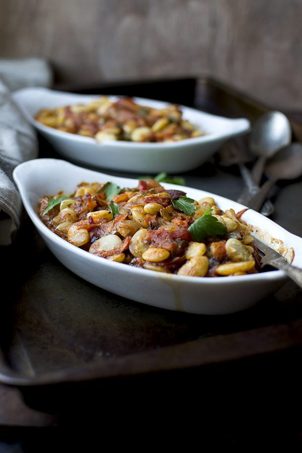 Mediterranean Style Baked Lima Beans