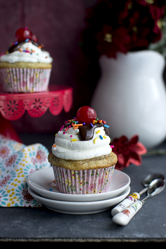 Banana Split Cupcakes Vegan