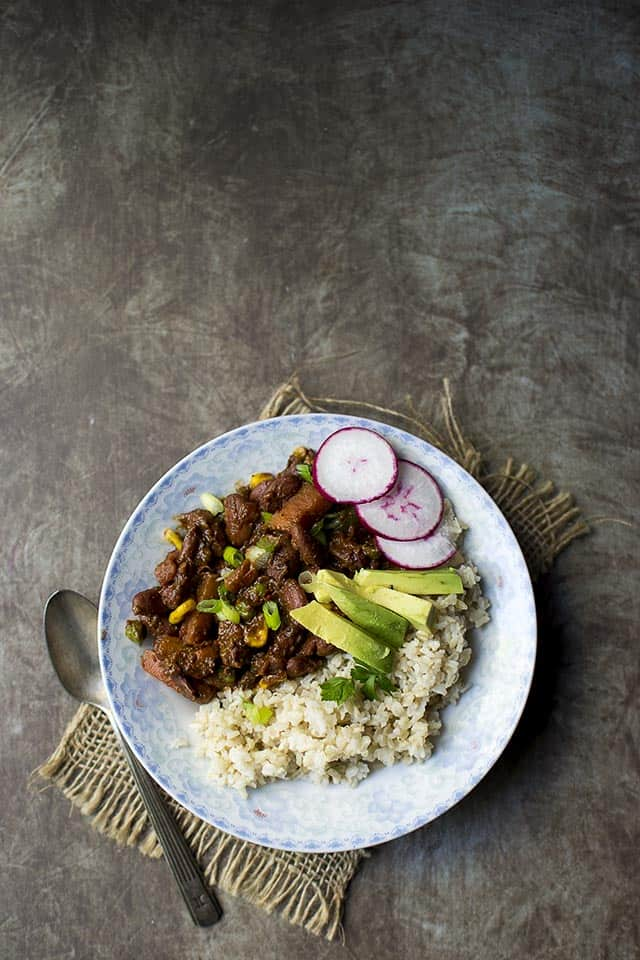 Beans & Veggies with Mole Sauce