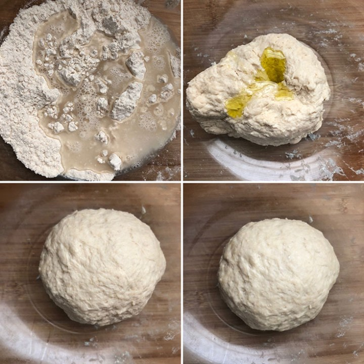 Step by step photos showing the making of pizza crust