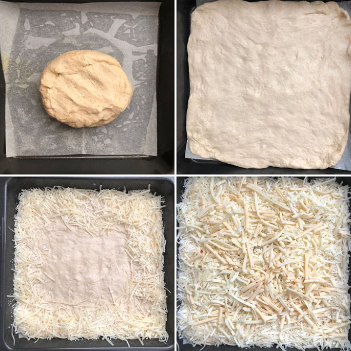 Step by step photos with dough being spread in a square baking pan and sprinkled with grated cheese