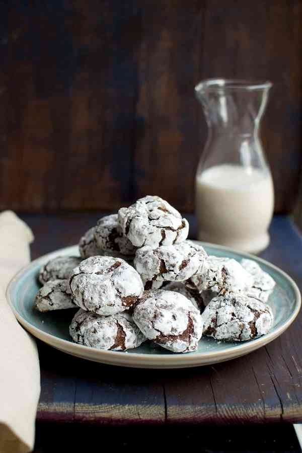 Mocha Chocolate Crinkle Cookies