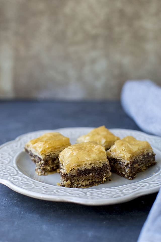 Baklava with Nutella and nuts