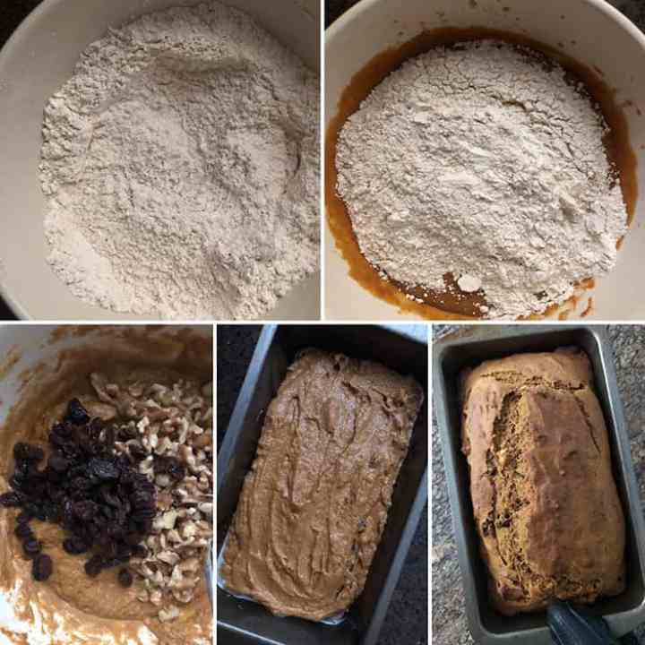 Step by step photos showing the mixing of dry ingredients into wet ingredients and baked into bread