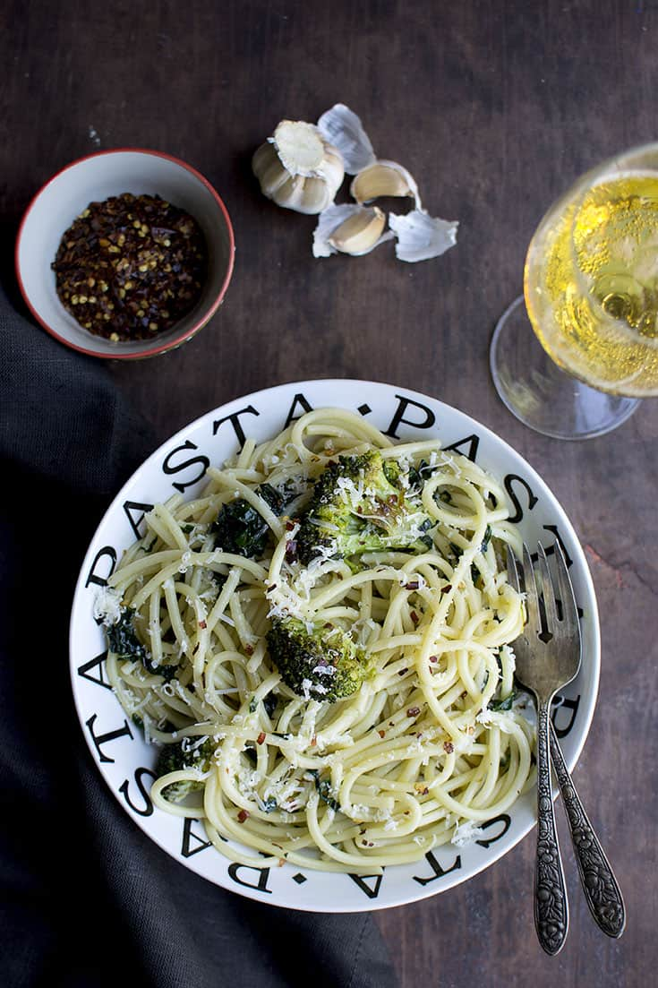 Kale and Broccoli Aglio e Olio