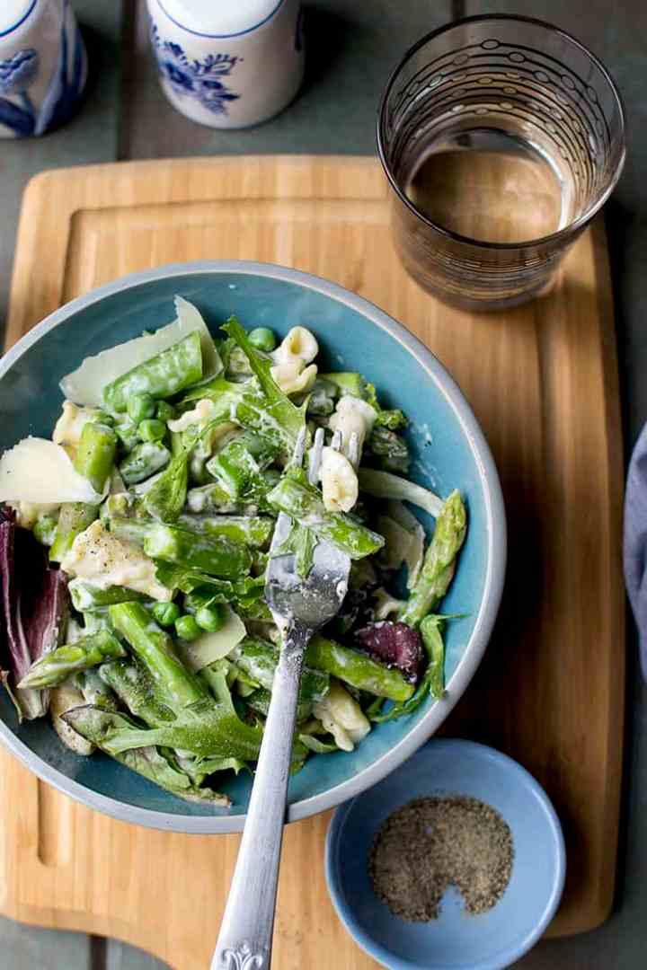 Lighter Alfredo with Spring Vegetables