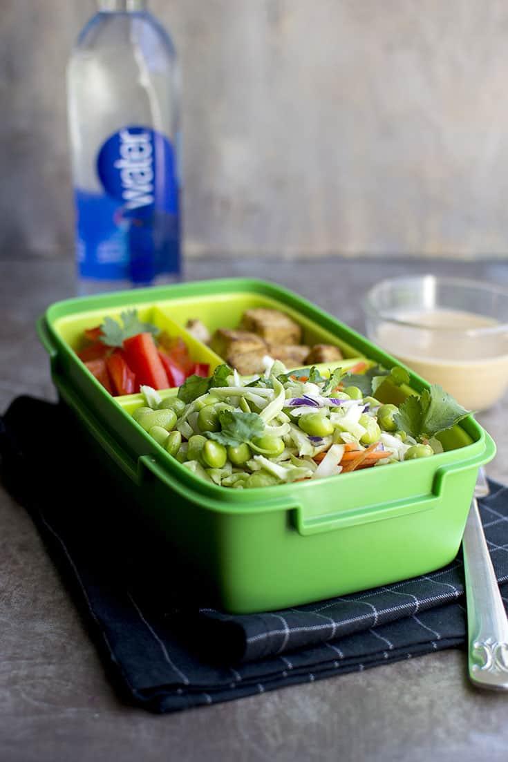 Broccoli and Tofu Salad with Peanut dressing