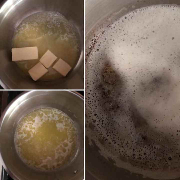 Step by step photos showing making of brown butter