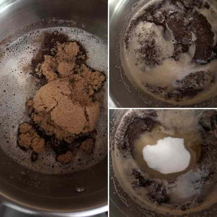 step by step photos with addition of brown and granulated sugar to brown butter