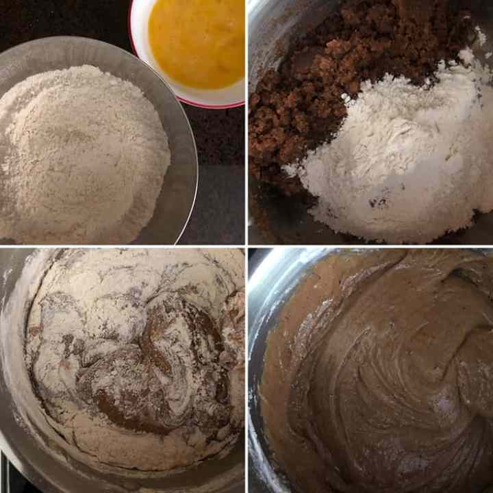 step by step photos showing the addition of flour and eggs to the butter-sugar mixture