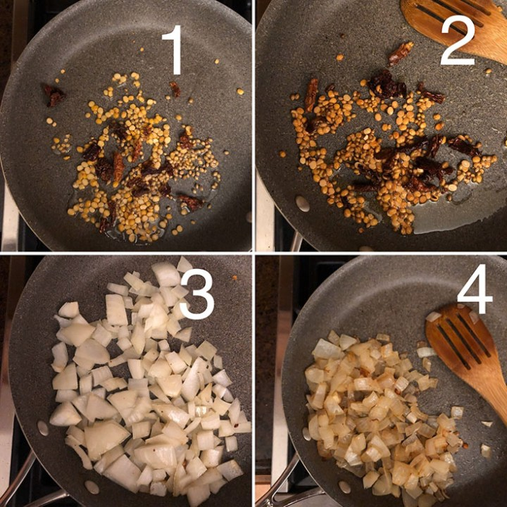 Skillet with oil sauteing lentil, spices and onions