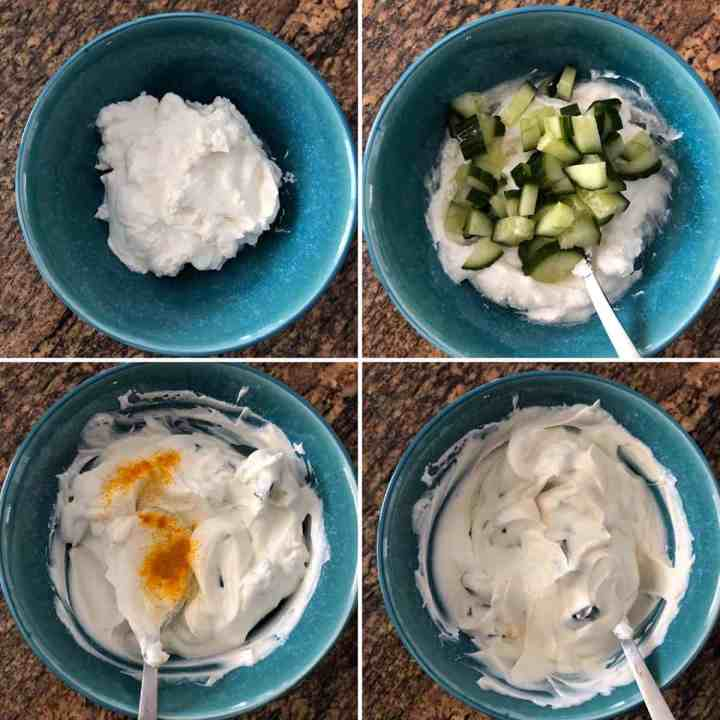 Step by step photos shoing the making of yogurt-cucumber sauce