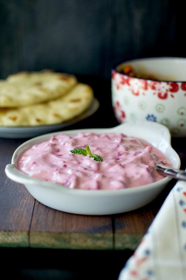 White bowl with Yogurt Beet Dip