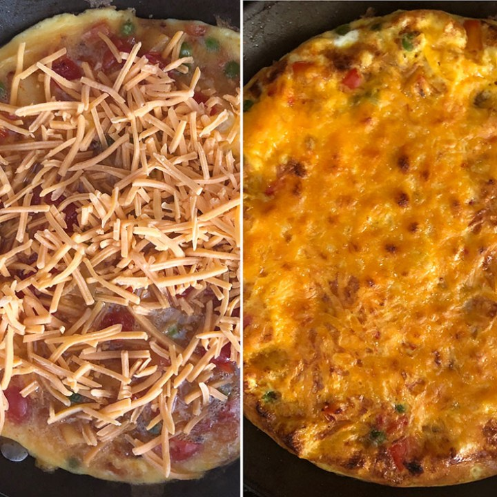 Cheese sprinkled over the eggs and after baking with melted cheese