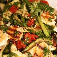 Char-grilled asparagus, courgette and haloumi salad - I'm in love!