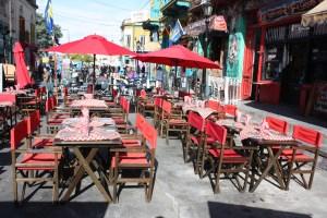 Tables outside a restaurant in La Boca