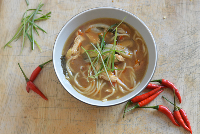 Bowl of spicy chicken noodle soup