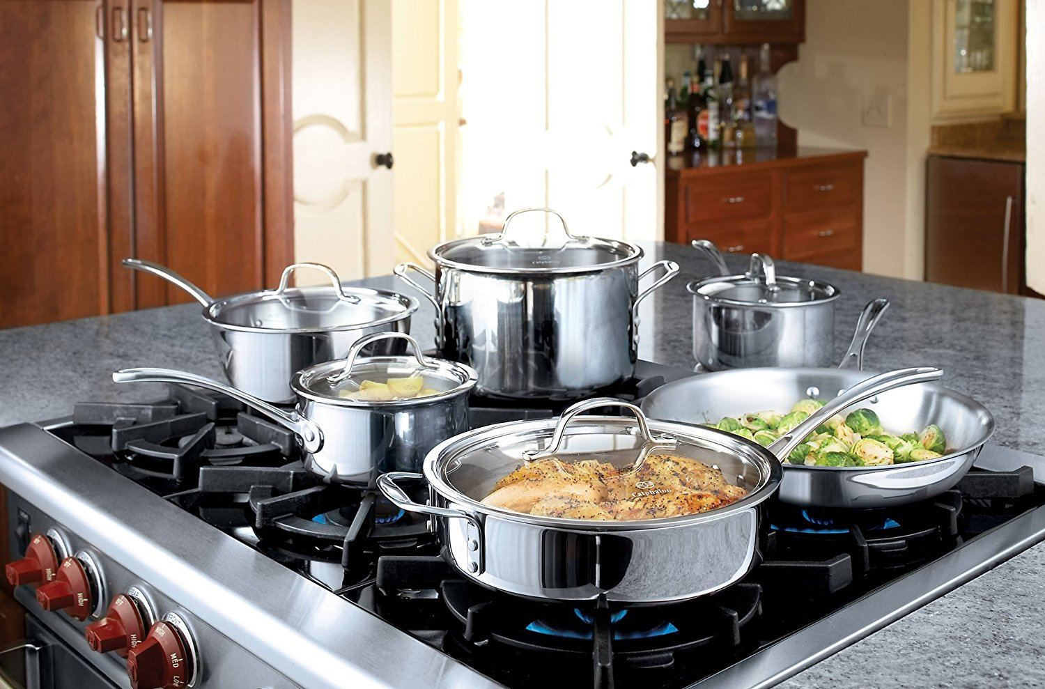 Calphalon  Stainless Steel -Cookware on the stove