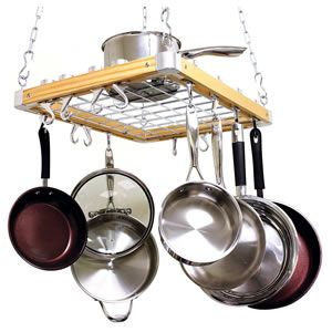 Cooks Standard Ceiling Mount Wooden Pot Rack Review - best ceiling mount pot rack under 100