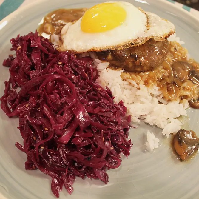 Sweet and Sour Red Cabbage with Loco Moco