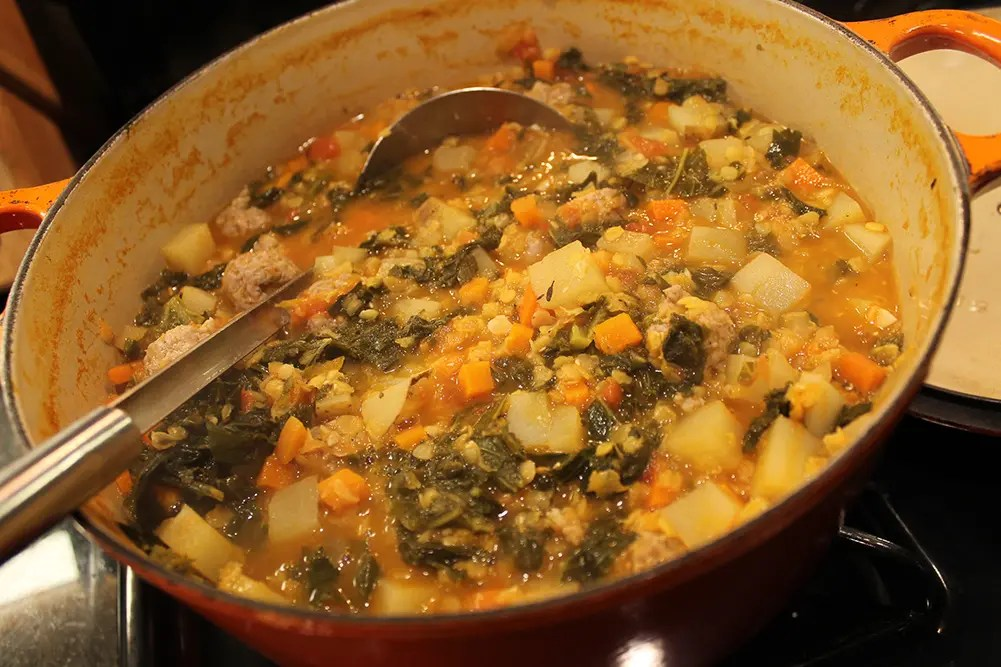 Cooked Red Lentil & Sausage Soup