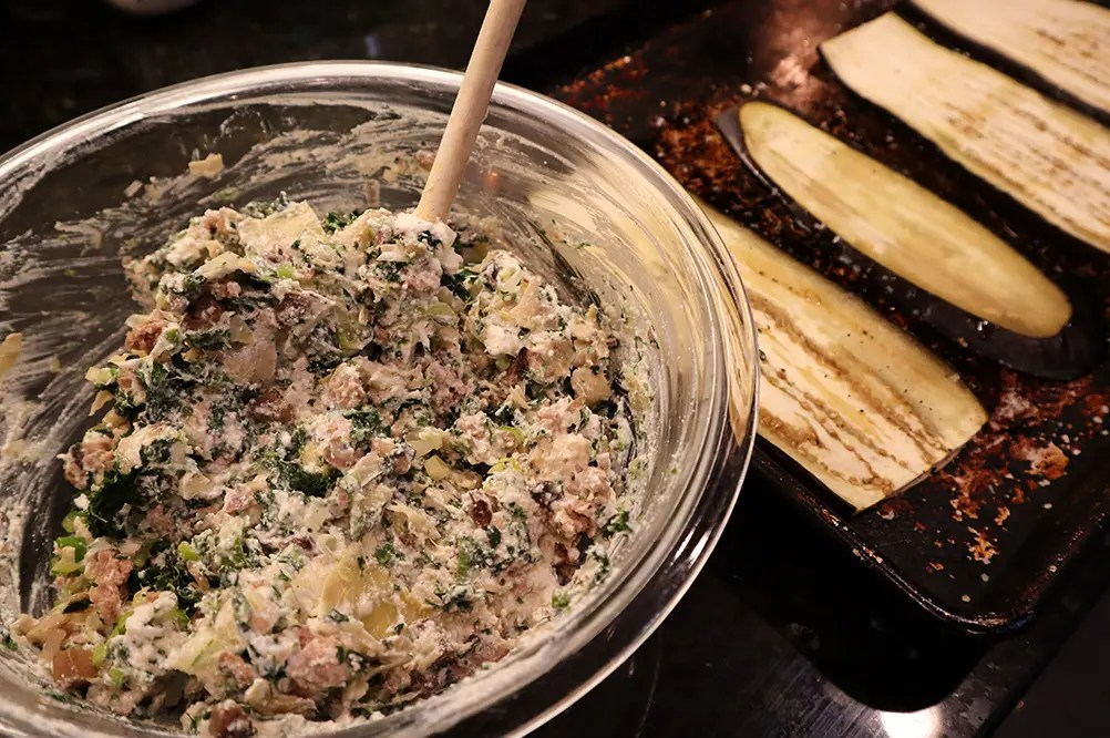Spinach and Artichoke Eggplant Filling