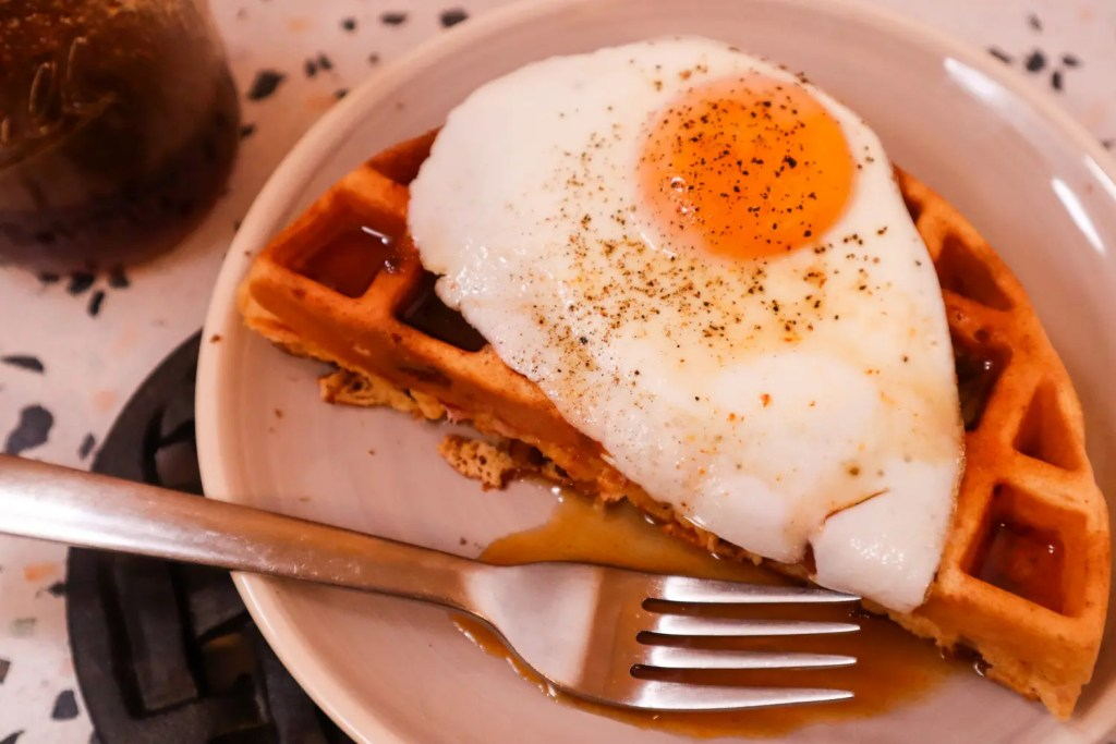 Ham & Cheese Waffles with Maple Sriracha Syrup
